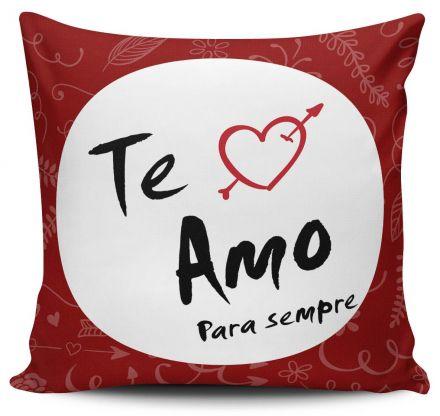 Almofada Eu Te Amo Para Sempre Coração Vermelho