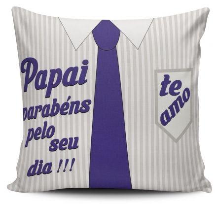 Almofada Gravata Azul Papai, Parabéns Pelo Seu Dia!!! Te Amo