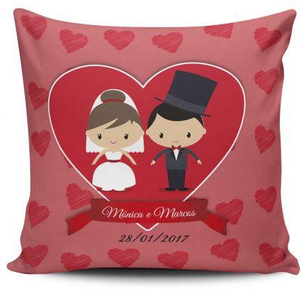 Almofada Lembrancinha de Casamento Coração Personalizada