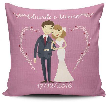 Almofada Lembrancinha de Casamento Noivos Personalizada