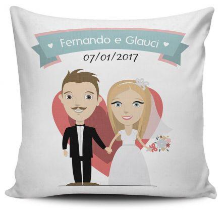 Almofada Lembrancinha de Casamento Personalizada Coração