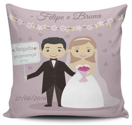Almofada Lembrancinha de Casamento Personalizada Obrigado Pela Presença