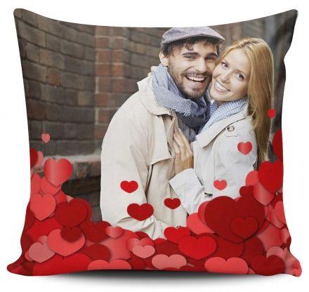 Almofada Personalizada com Foto Amor Corações