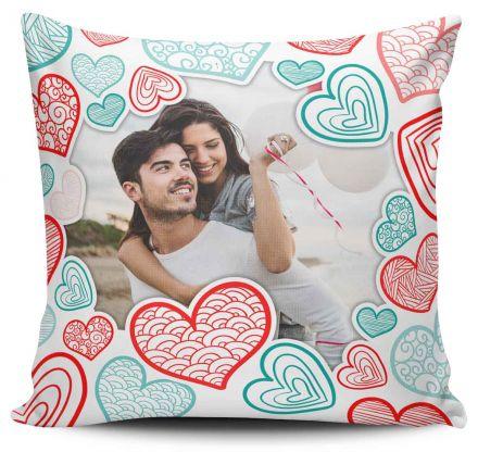Almofada Personalizada Com Foto Corações Coloridos