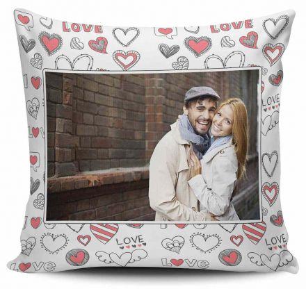 Almofada Personalizada com Foto Corações Love