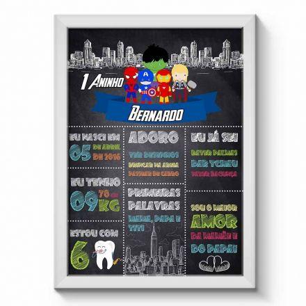 Arte Digital para Quadro Chalkboard Aniversário Personalizado com Dados da Criança Menino Os Vingadores