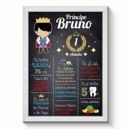 Arte Digital para Quadro Personalizado com Dados da Criança Chalkboard Aniversário Menino Príncipe