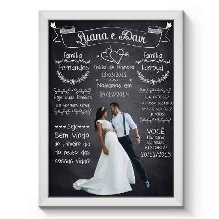 Arte Digital para Quadro Personalizado com Dados do Casal e Foto para Casamento