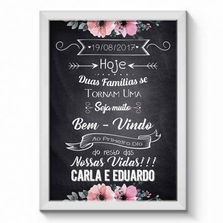 Arte Digital para Quadro Personalizado com Dados do Casal para Festa de Casamento