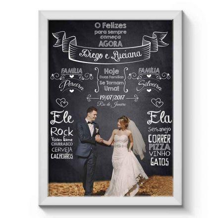 Arte Digital para Quadro Personalizado com Foto e Dados do Casal para Casamento