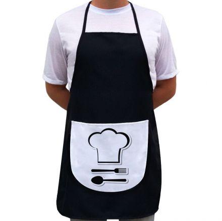 Avental Chefe de Cozinha Preto Com Bolso