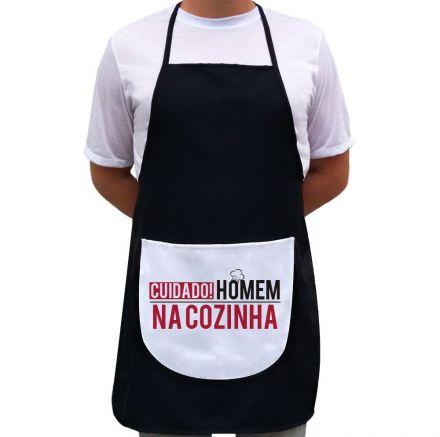 Avental Cuidado! Homem Na Cozinha Preto Com Bolso