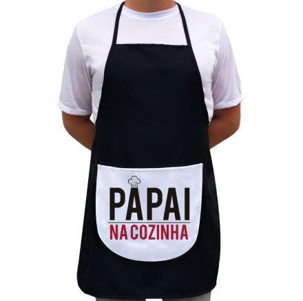Avental Papai Na Cozinha Preto Com Bolso