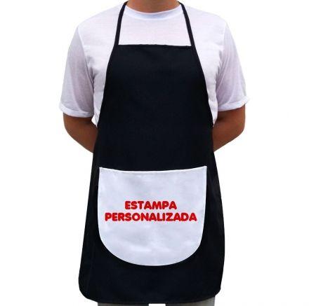 Avental Personalizado Com A Sua Estampa Preto Com Bolso