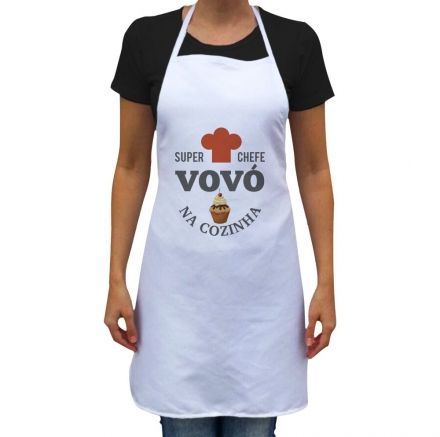 Avental Super Chefe Vovó Na Cozinha Branco