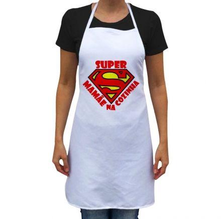 Avental Super Mamãe Na Cozinha Branco