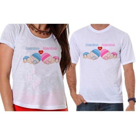 Bata e Camiseta Chá Revelação Menino ou Menina Anjinhos