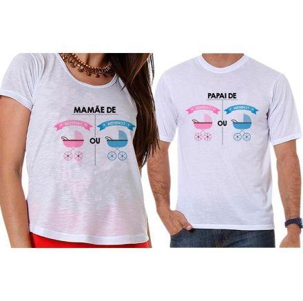 Bata e Camiseta Chá Revelação Menino ou Menina Carrinhos de Bebê