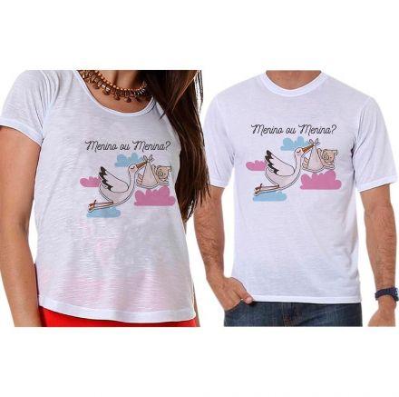 Bata e Camiseta Chá Revelação Menino ou Menina Cegonha