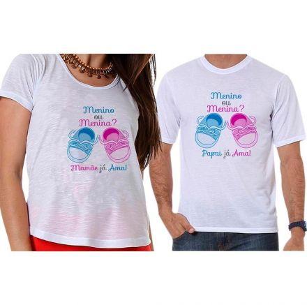 Bata e Camiseta Chá Revelação Menino ou Menina Sapatinhos de Bebê