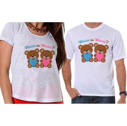 Bata e Camiseta Chá Revelação Menino ou Menina Ursinhos