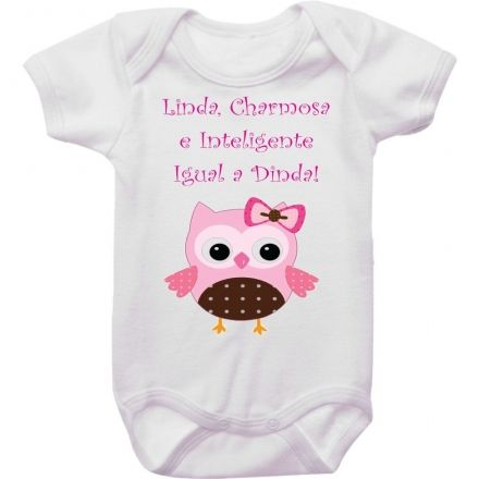 Body Bebê Charmosa e Inteligente Igual a Dinda
