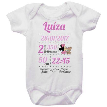 Body Bebê Dados de Nascimento Minnie