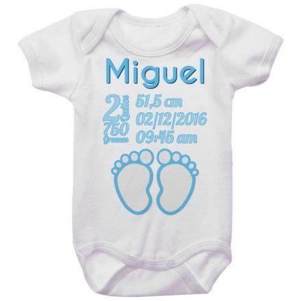 Body Bebê Dados de Nascimento Pézinho