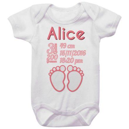 Body Bebê Dados de Nascimento Pézinho Menina