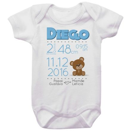 Body Bebê Dados de Nascimento Ursinho