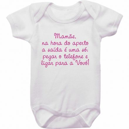 Body Bebê Divertido Mamãe Na Hora do Aperto