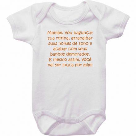 Body Bebê Divertido Mamãe Vou Bagunçar sua Rotina