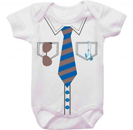 Body Bebê Gravata e Óculos