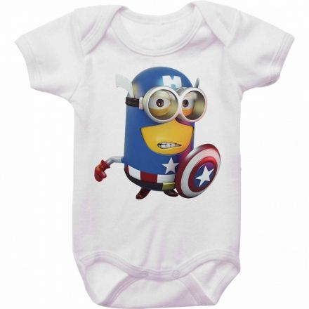 Body Bebê Minions Capitão América