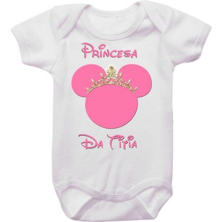 Body Bebê Minnie Rosa Princesa da Titia