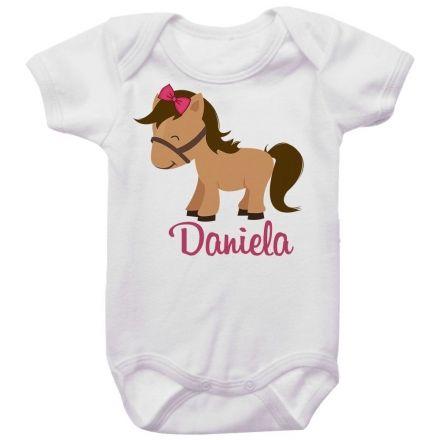 Body Bebê Personalizado Cavalo Laço Rosa