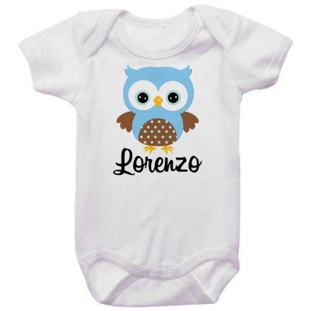 Body Bebê Personalizado Coruja Azul