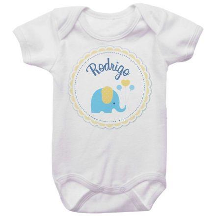 Body Bebê Personalizado Elefante Coração