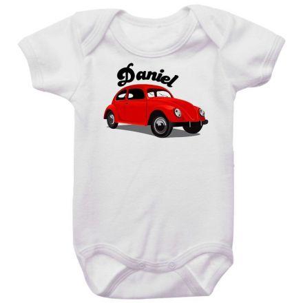 Body Bebê Personalizado Fusca Vermelho