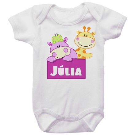 Body Bebê Personalizado Hipopótamo e Girafa Menina
