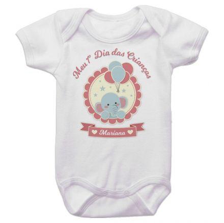 Body Bebê Personalizado Meu Primeiro Dia Das Crianças Elefante