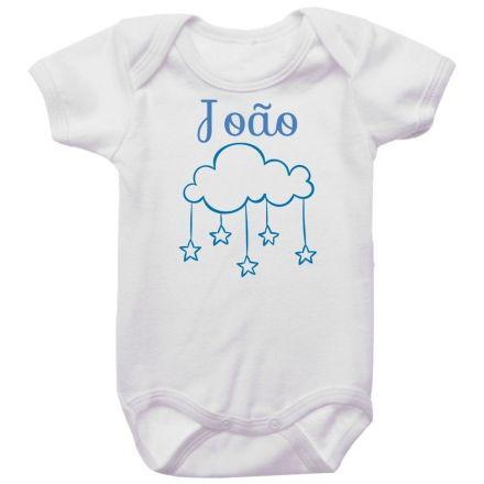 Body Bebê Personalizado Nuvem Azul