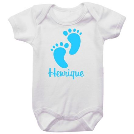 Body Bebê Personalizado Pé Azul