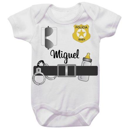 Body Bebê Personalizado Policial