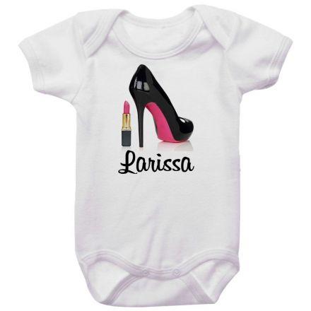 Body Bebê Personalizado Sapato Batom