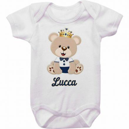 Body Bebê Personalizado Ursinho Coroa Dourada