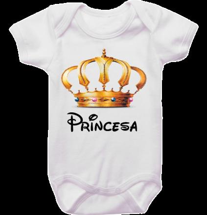 Body Bebê Princesa Coroa Dourada
