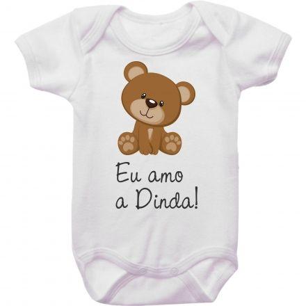 Body Bebê Ursinho Eu Amo A Dinda!