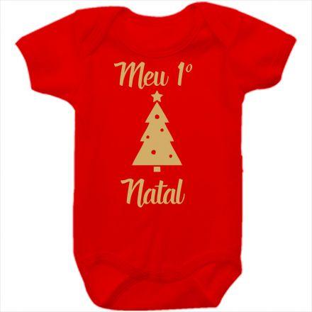 Body de Bebê Meu Primeiro Natal Vermelho 100% Algodão FN0022