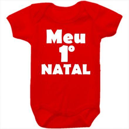 Body de Bebê Meu Primeiro Natal Vermelho 100% Algodão FN0023
